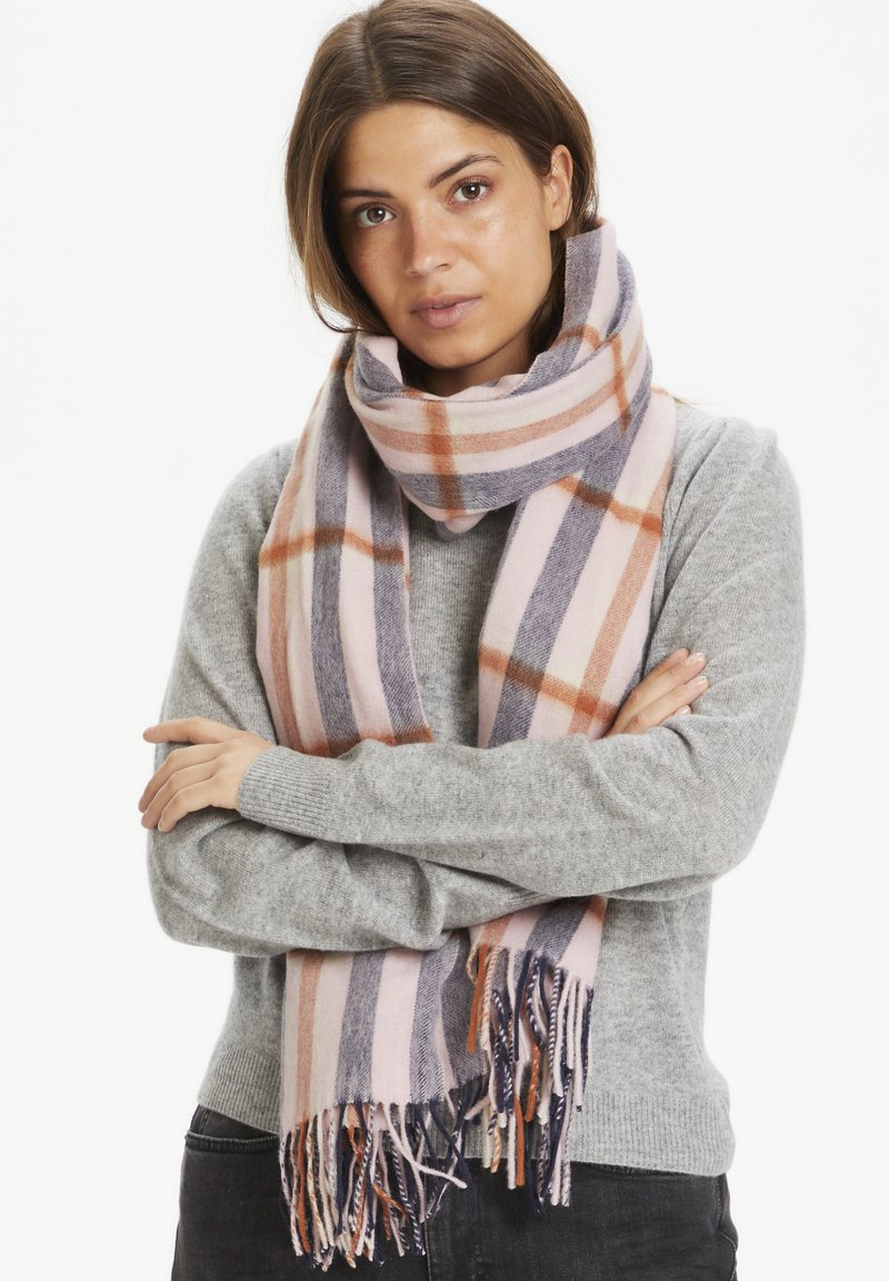 Part Two - ECITANAPW - Scarf - big check, silver pink