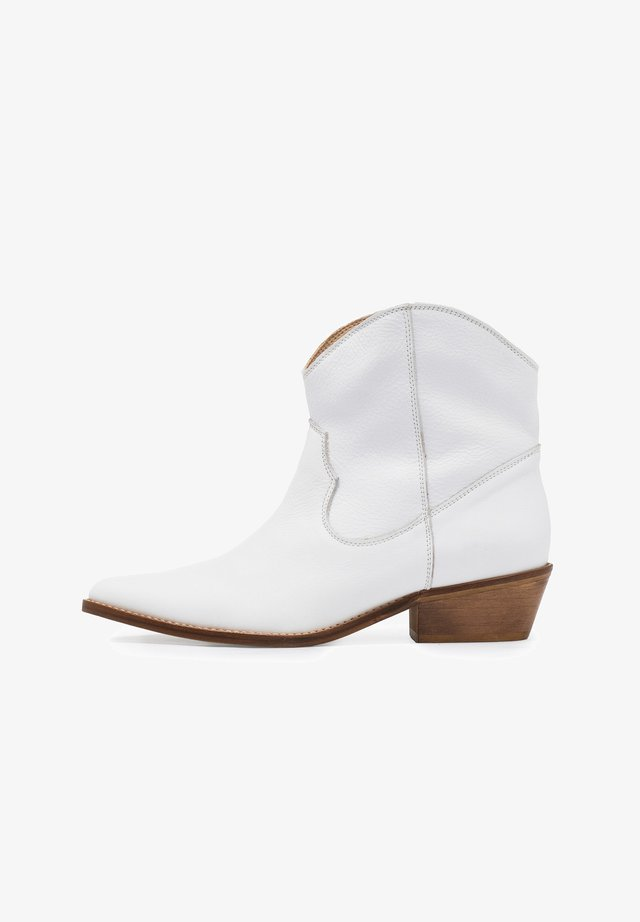 Cowboy/biker ankle boot - blanco