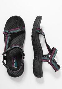 Skechers - REGGAE - Walking sandals - black/teal/pink - 3