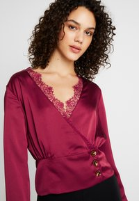 Missguided - WRAP BUTTON - Blouse - burgundy - 5