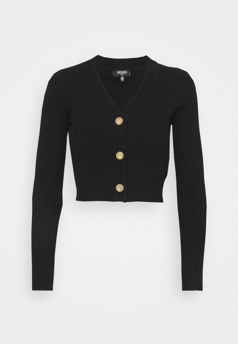 Missguided Petite - HORN BUTTON CROPPED - Cardigan - black