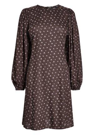 PURPLE FLORAL VOLUME SLEEVE DRESS - Freizeitkleid - brown