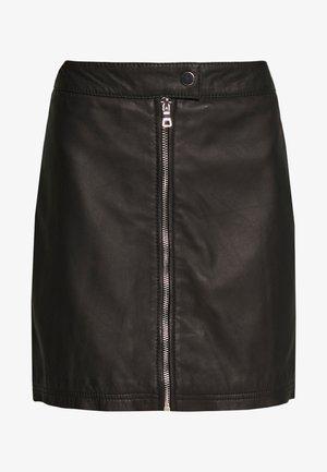EXCLUSIVE ZIP MINI SKIRT - Leather skirt - black