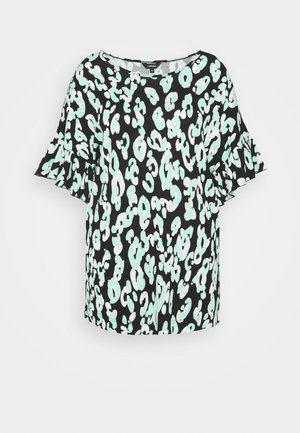 RUFFLE SLEEVE - T-shirt print - black