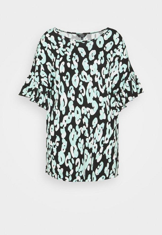 RUFFLE SLEEVE - Print T-shirt - black