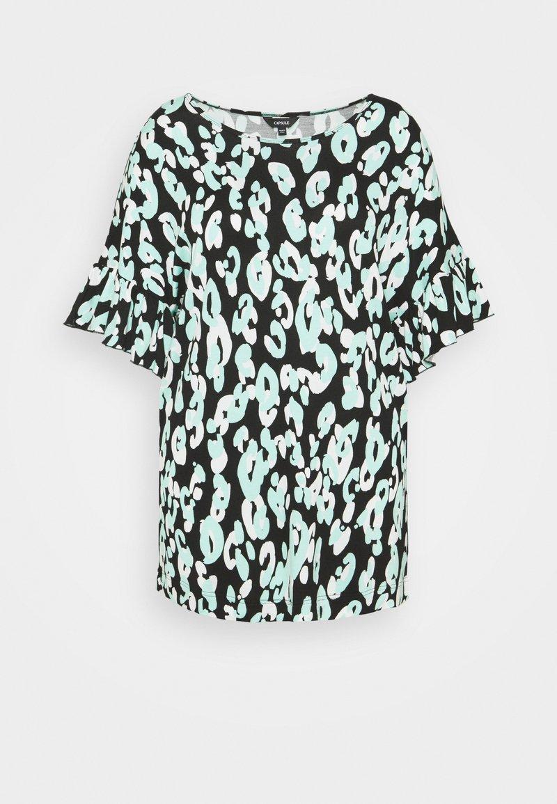 CAPSULE by Simply Be - RUFFLE SLEEVE - T-shirt print - black