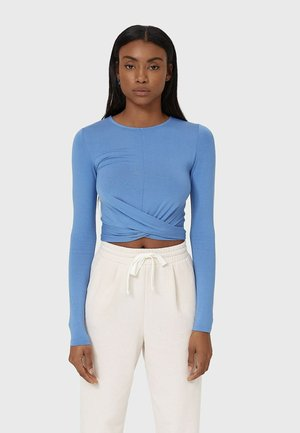 IN WICKELOPTIK - Long sleeved top - blue