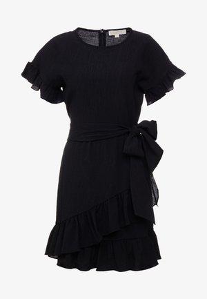RUFFLE WRAP DRESS - Jurk - black
