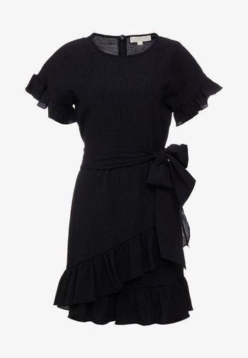 RUFFLE WRAP DRESS - Vapaa-ajan mekko - black