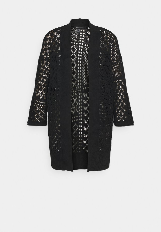 STITCHY KIMONO CARDIGAN - Vest - black