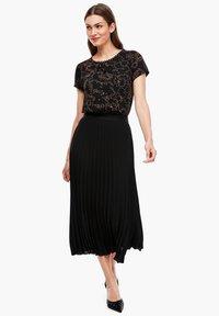 s.Oliver BLACK LABEL - CRÊPE - A-line skirt - true black - 1
