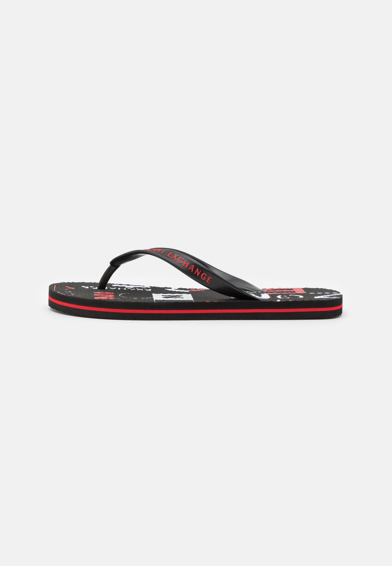 Armani Exchange - T-bar sandals - white/black/red
