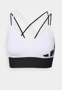 3 BAR LOGO - Light support sports bra - white/black
