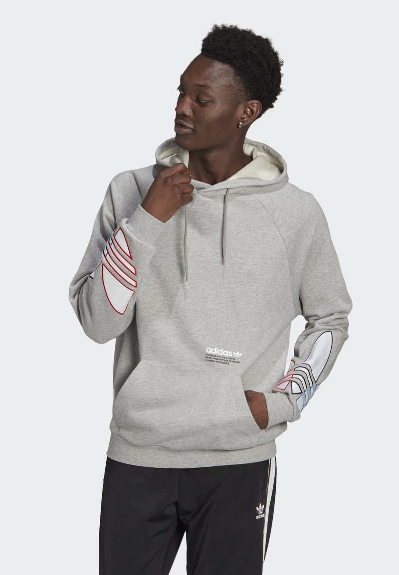 adidas Originals - ADICOLOR TRICOLOR TREFOIL HOODIE UNISEX - Luvtröja - mgreyh