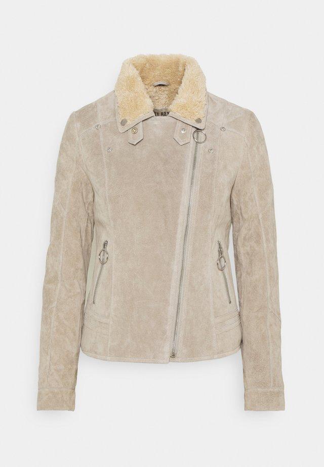 EARLY WINTER - Leather jacket - soil/birch