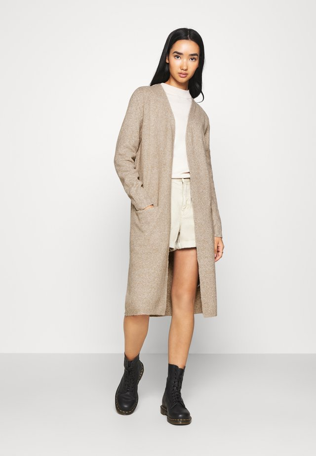 VMDOFFY LONG OPEN CARDIGAN - Vest - sepia tint melange