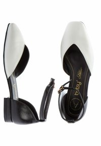 Betsy - Ankle strap ballet pumps - white  black - 3