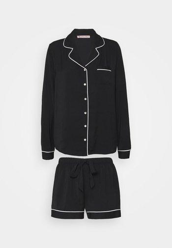 AMANDA LONG SLEEVE SHORT SET  - Pyjama - black