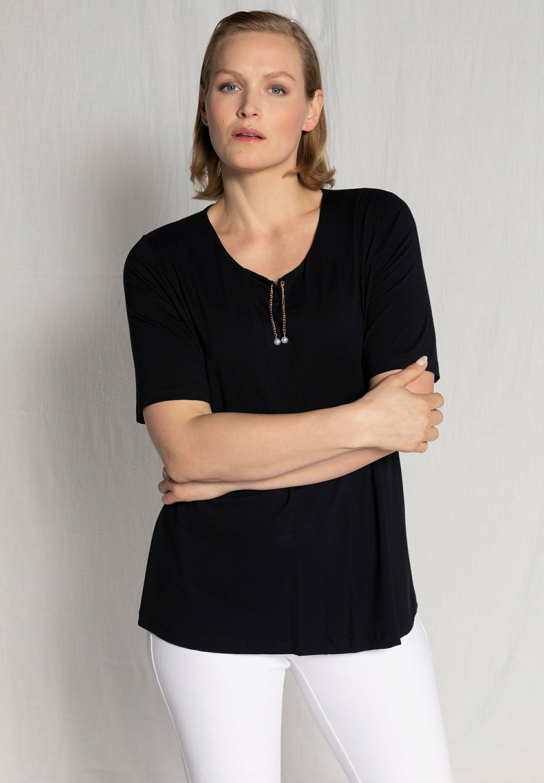 Damen ULLA POPKEN DAMEN GROSSE GRÖSSEN T SHIRT  ZIERKETTE CLASSIC RUND - T-Shirt basic