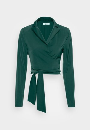 CROP WRAP BLAZER WITH BACK OR FRONT TIE DETAIL - Blůza - deep green