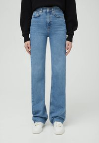PULL&BEAR - HIGH WAIST - Straight leg -farkut - blue - 0