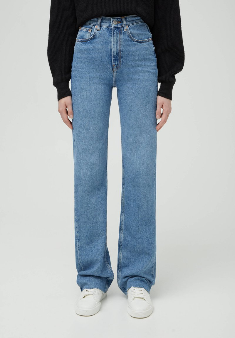 PULL&BEAR - HIGH WAIST - Straight leg jeans - blue