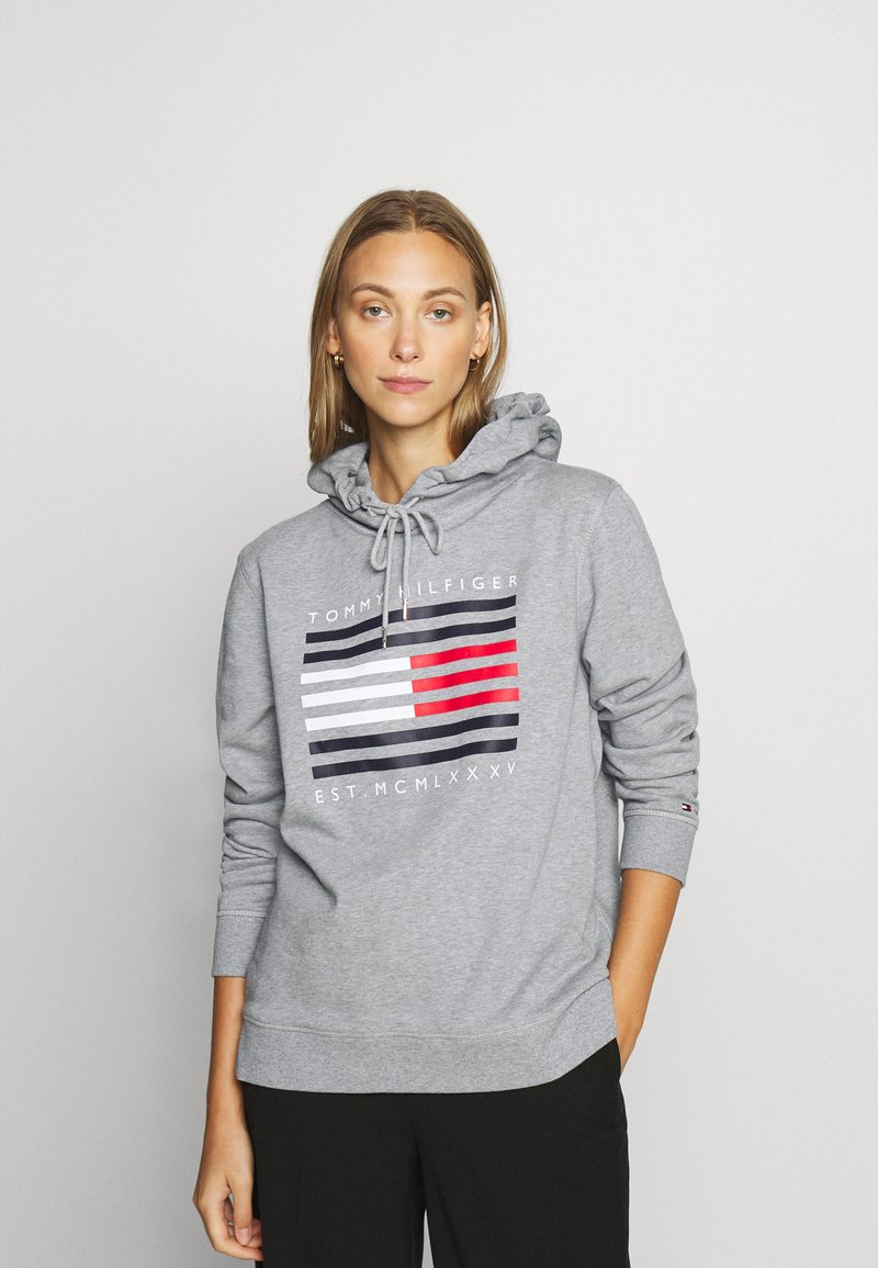 Tommy Hilfiger - REGULAR FLAG HOODIE  - Sweat à capuche - light grey heather