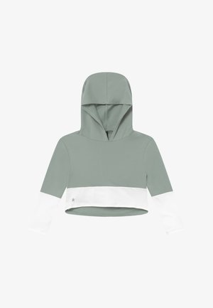 GIRLS COLOR BLOCK HOODIE - Mikina s kapucí - sage green/white