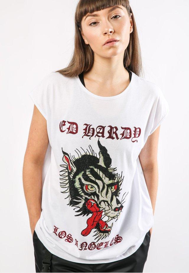 LA-WOLF DIP HEM TEE - T-shirt print - white