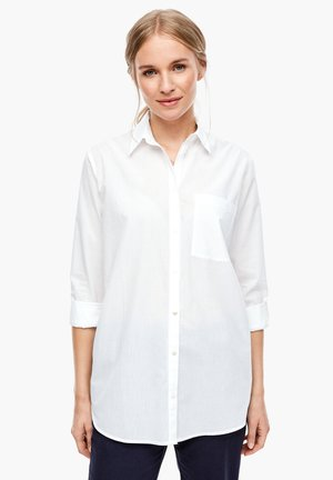 LONGBLUSE MIT WEBSTRUKTUR - Button-down blouse - white