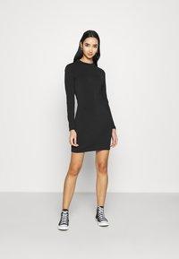Even&Odd - Mini high neck long sleeves bodycon dress - Shift dress - black - 0