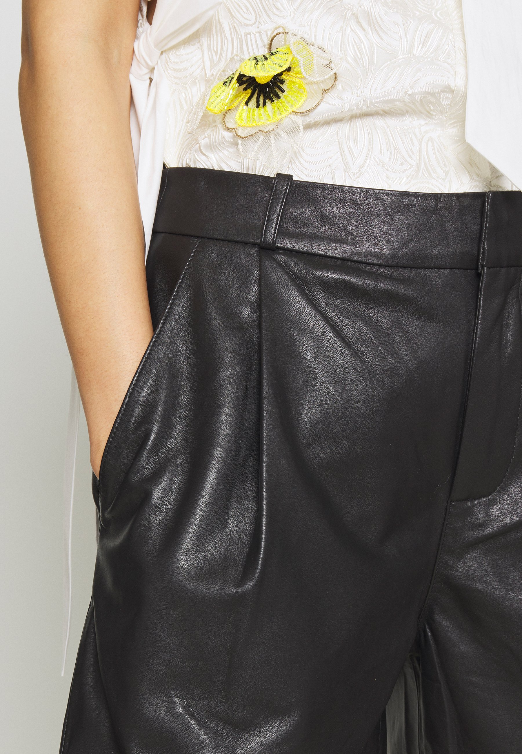 Hot Sale Women's Clothing Custommade MAHIAM Leather trousers anthracite black 4RfjFGUL0