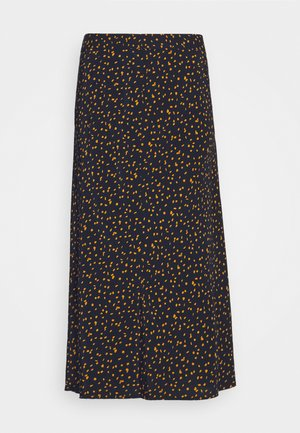 SKIRT PRINTED MIDI - A-line skirt - navy/orange
