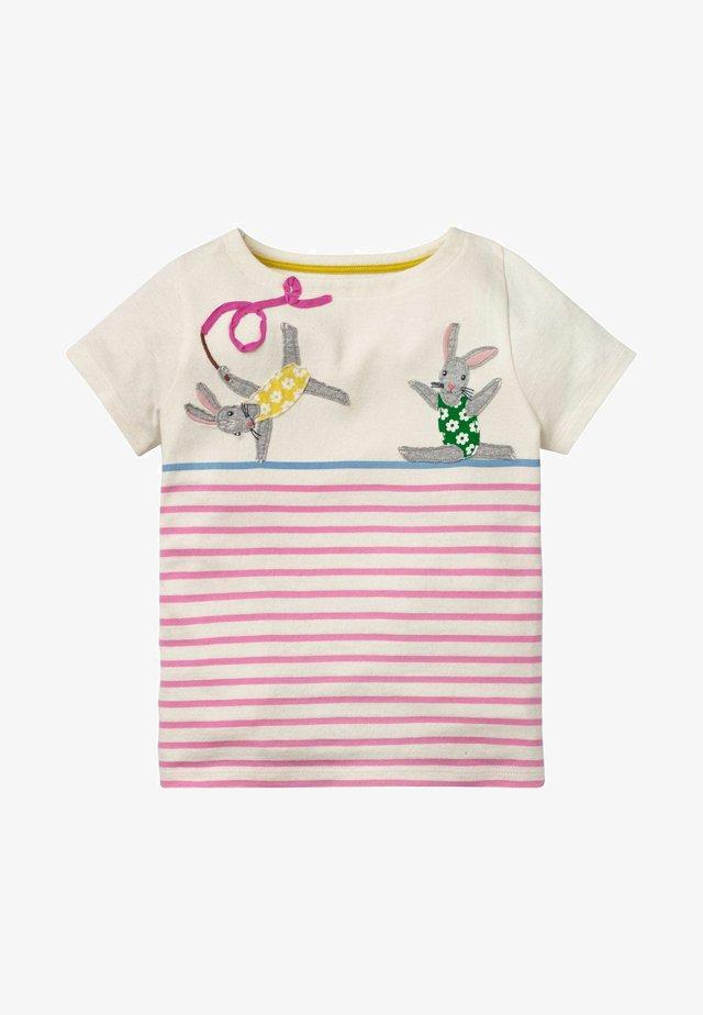 Print T-shirt - kirschblütenrosa, häschen