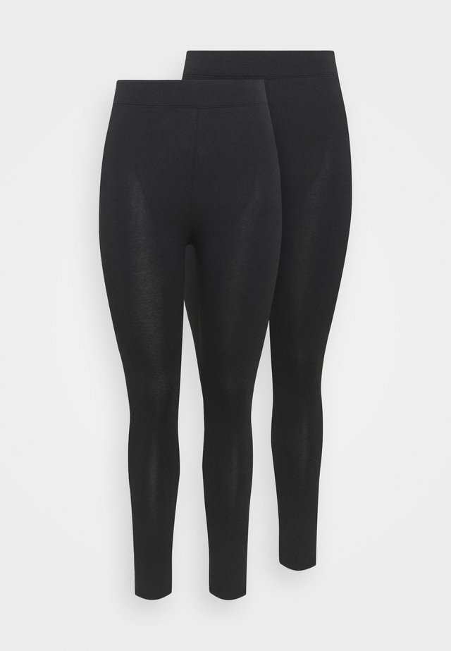 BASIC 2 PACK - Leggings - Trousers - black