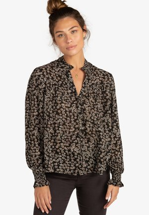 BY NIGHT - Button-down blouse - mottled black/beige