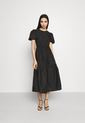TIE BACK PUFF SLEEVE MIDAXI SMOCK DRESS - Sukienka letnia - black