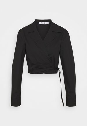 OVERLAP CROPPED - Blouse - black