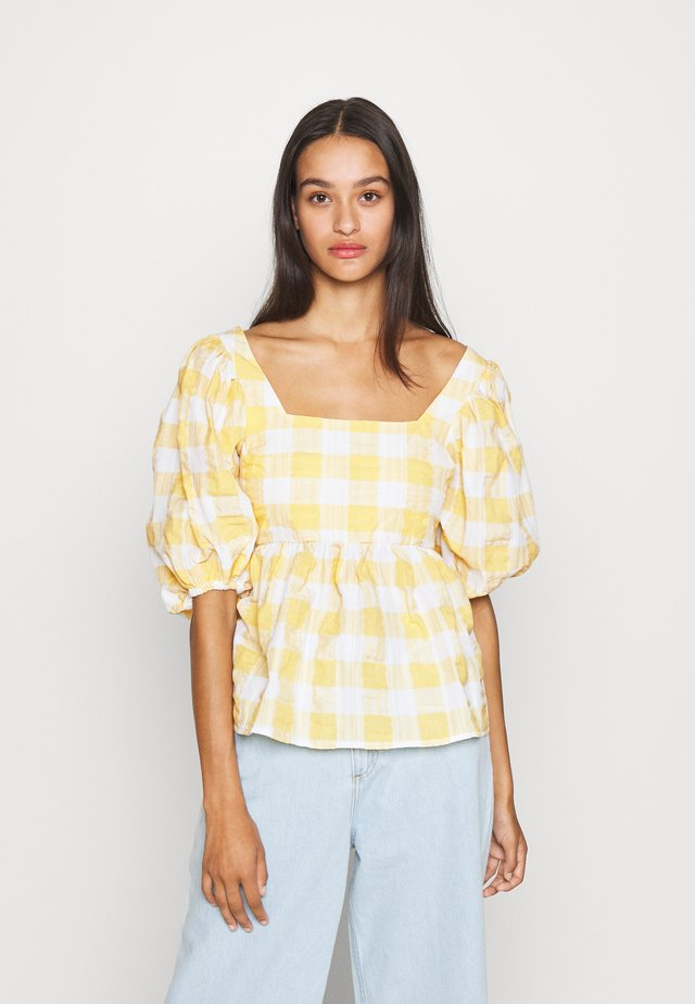 PUFF SLEEVE SMOCK BLOUSE - Bluser - white/yellow