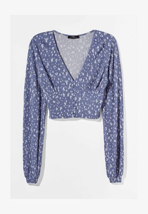 V-AUSSCHNITT - Long sleeved top - blue