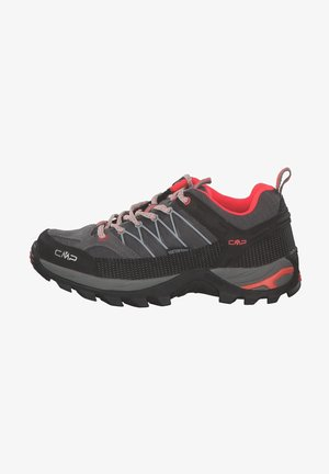 Trail running shoes - grey red fluo