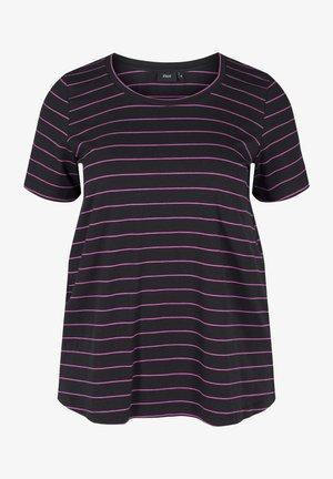 Print T-shirt - black w purple