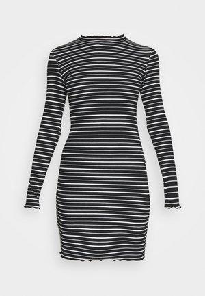 Rushed edges mini high neck long sleeves dress - Shift dress - black/ white