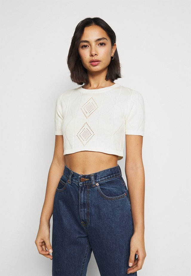 POINTELLE SHORT SLEEVE CROP - Print T-shirt - cream