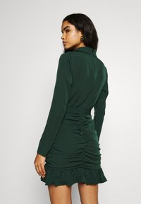 Missguided - RUCHED FRILL HEM - Cocktail dress / Party dress - dark green - 2