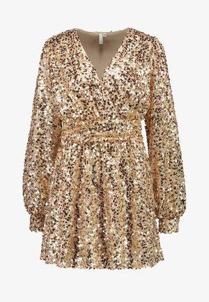 PUFFY SLEEVE SEQUIN DRESS - Cocktailkjoler / festkjoler - gold