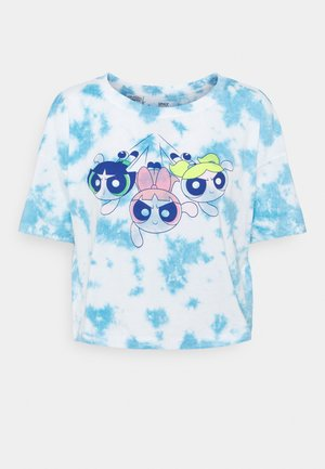 ONLPOWER PUFF CROPPED - Print T-shirt - white/tie dye