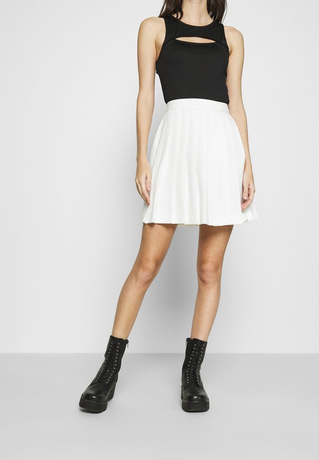 PLEATED MINI SKIRT - Mini skirt - off white