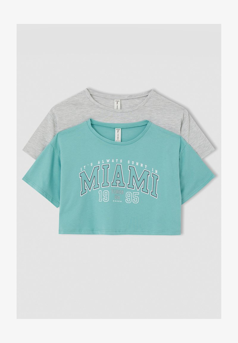 DeFacto - 2 PACK - Print T-shirt - turquoise