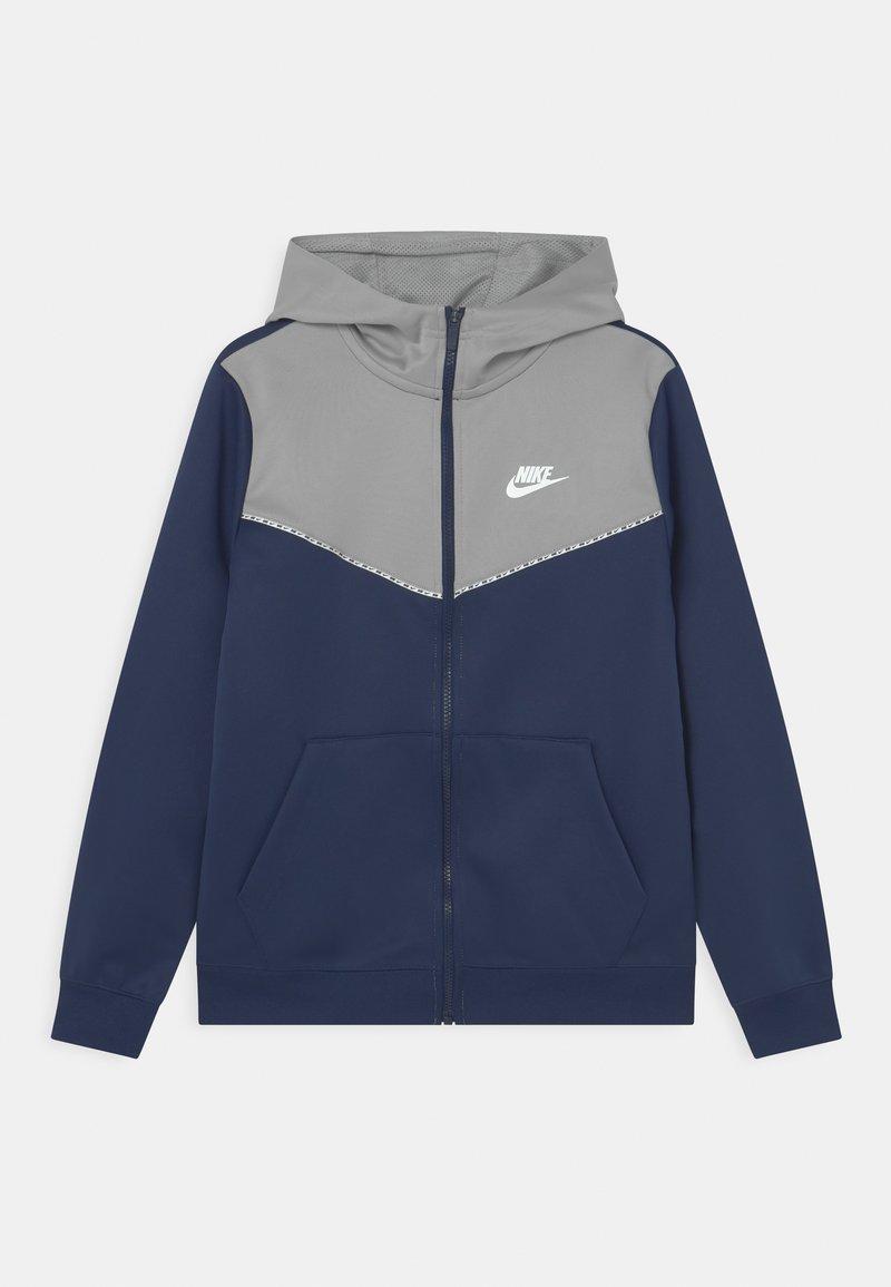 Nike Sportswear - REPEAT HOODIE - Training jacket - midnight navy/light smoke grey/white